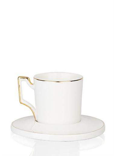 Acar Porselen 6'lı Beyaz Kahve Seti Beyaz